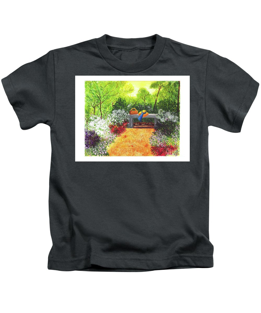 Garden Painting Kids T-Shirt featuring the painting Sanctuary by Patricia Griffin Brett