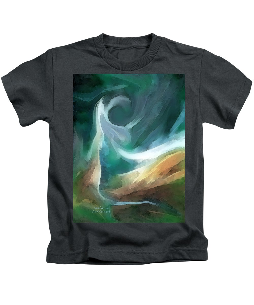 Sea Kids T-Shirt featuring the mixed media Sand And Sea by Carol Cavalaris