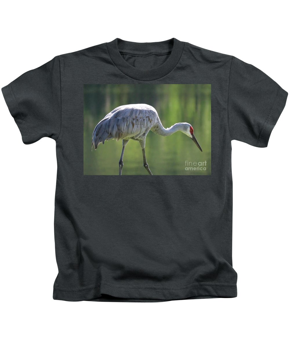 Bird Kids T-Shirt featuring the photograph Sandhill And Green Pond by Carol Groenen