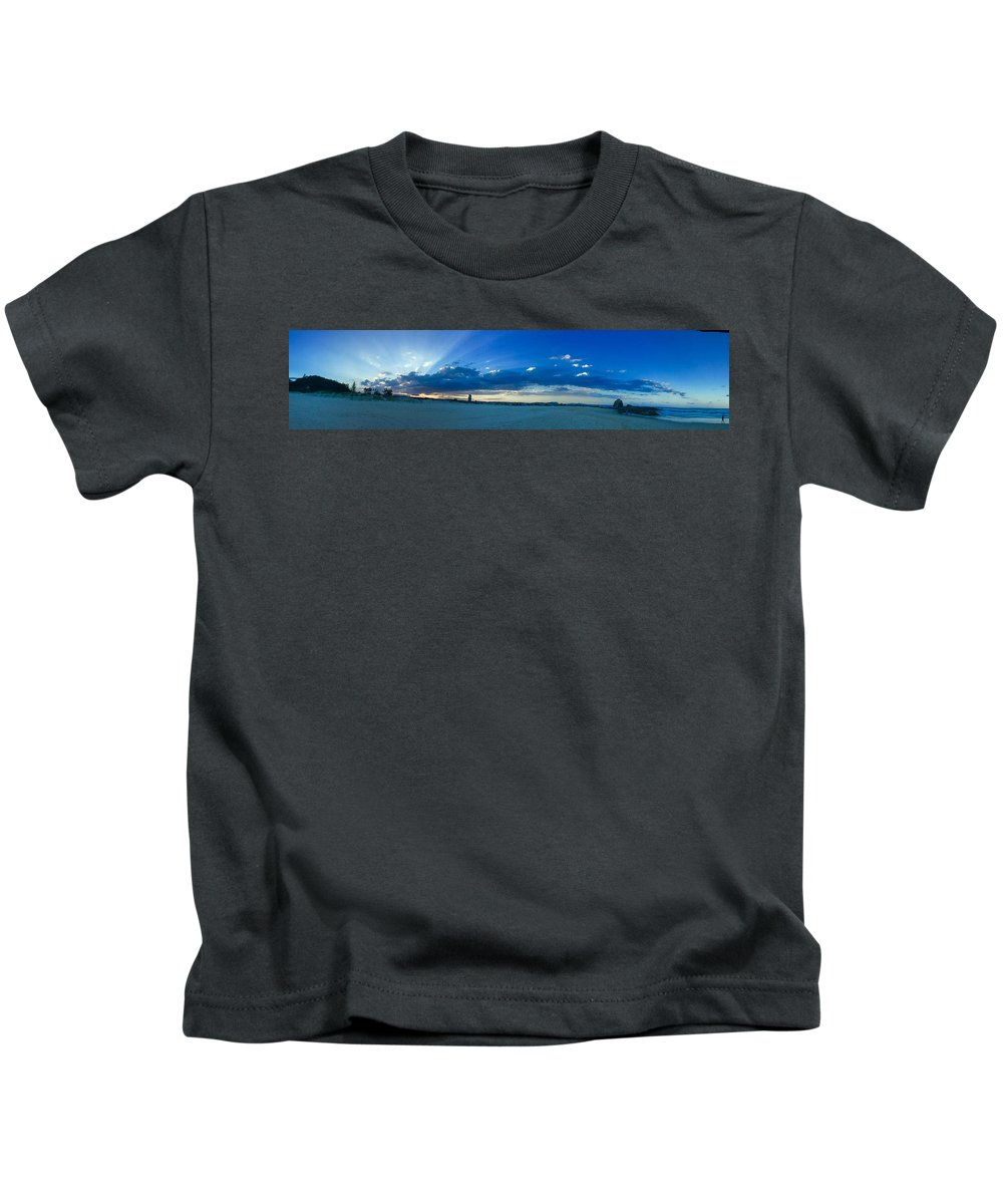 Beach Sunset Panoramic Kids T-Shirt featuring the photograph Sands Of Currumbin by Anthony Robinson