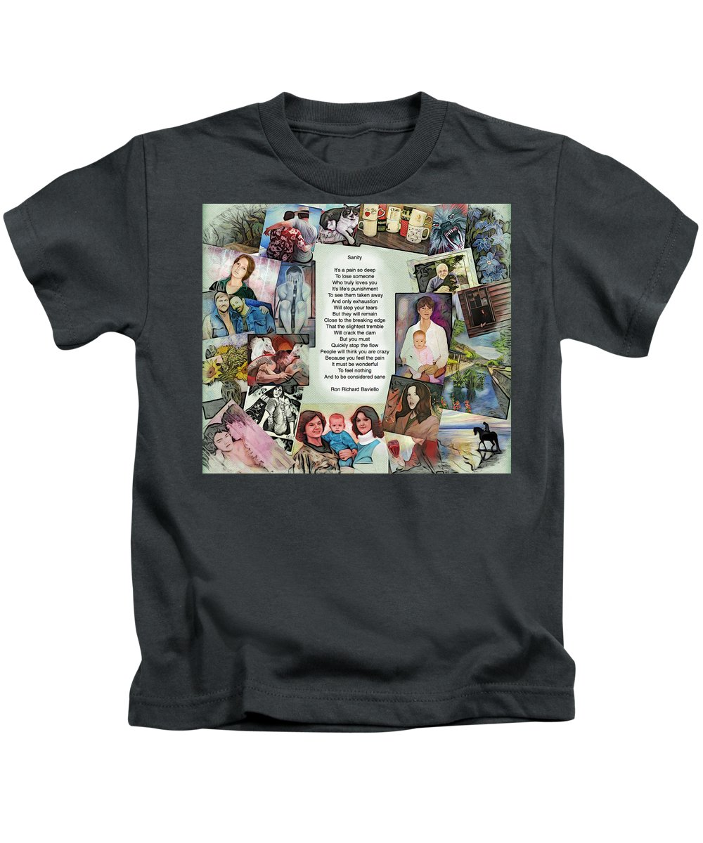 Collage Kids T-Shirt featuring the painting Sanity by Ron Richard Baviello