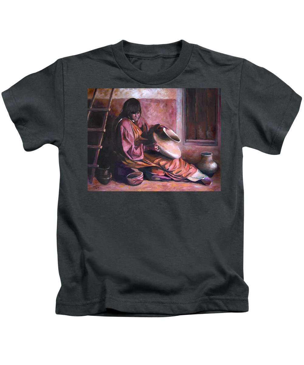 Native American Kids T-Shirt featuring the painting Santa Clara Potter by Nancy Griswold