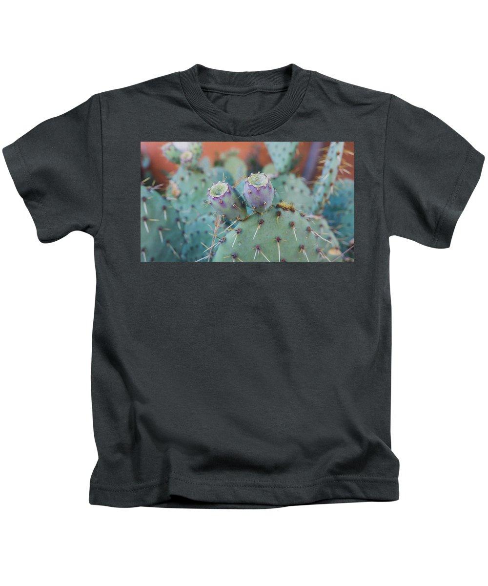 Santa Fe Prickly Pear Cactus Kids T-Shirt featuring the photograph Santa Fe Prickly Pear Cactus by April Bern