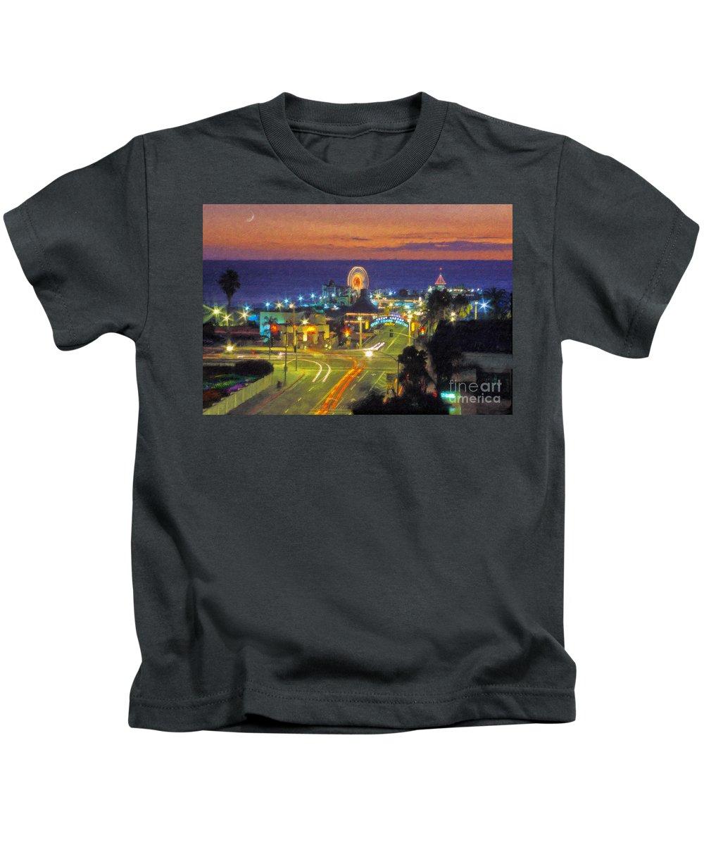Santa Monica Kids T-Shirt featuring the photograph Santa Monica Ca Pacific Park Pier by David Zanzinger