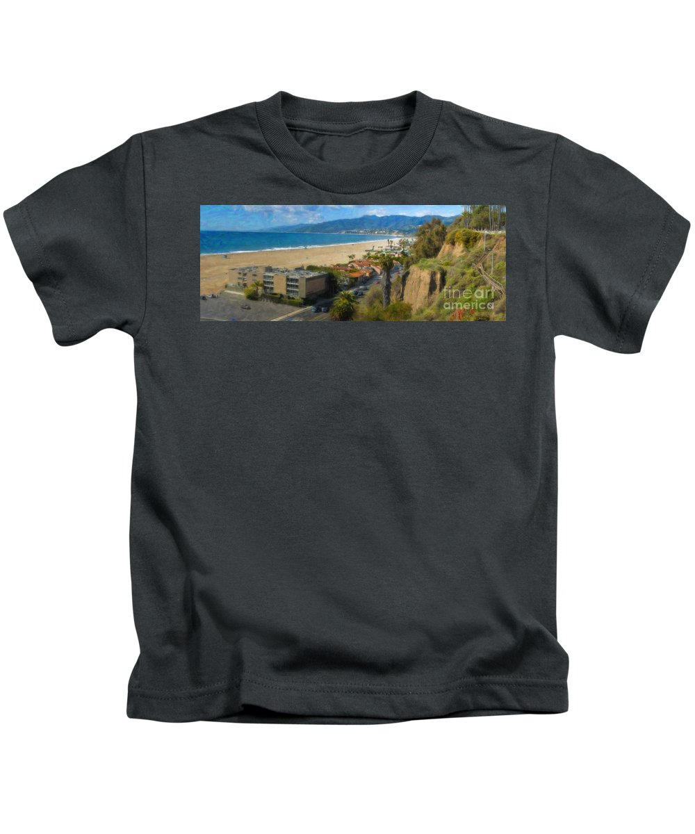 Santa Monica Kids T-Shirt featuring the photograph Santa Monica Ca Steps Palisades Park Bluffs by David Zanzinger