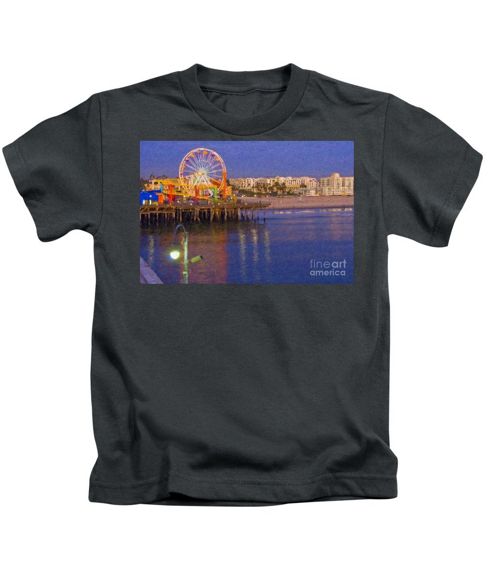 Santa Monica Kids T-Shirt featuring the photograph Santa Monica Pacific Park Pier And Lowes Hotel by David Zanzinger
