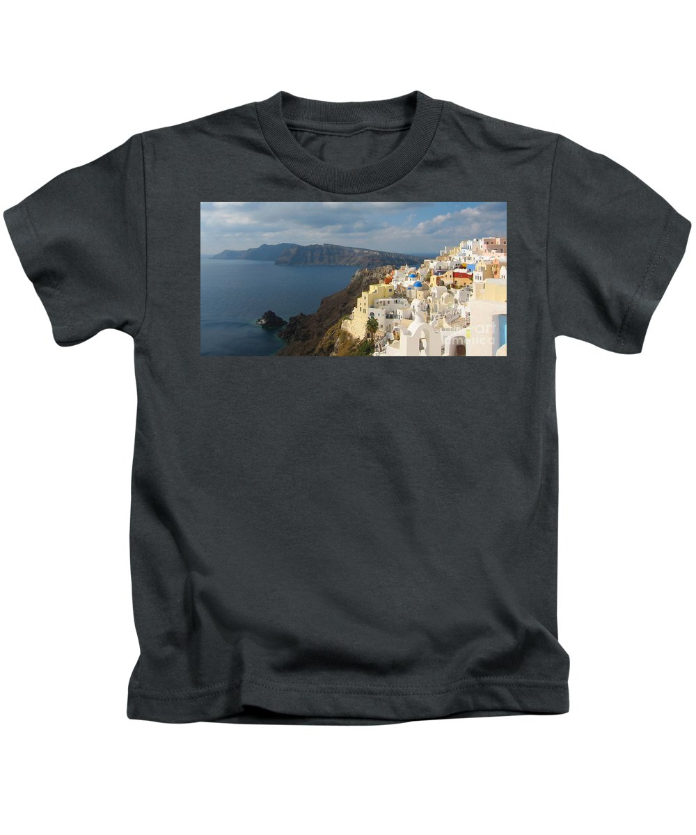 Santorini Kids T-Shirt featuring the photograph Santorini In The Afternoon Sun by Four Stock