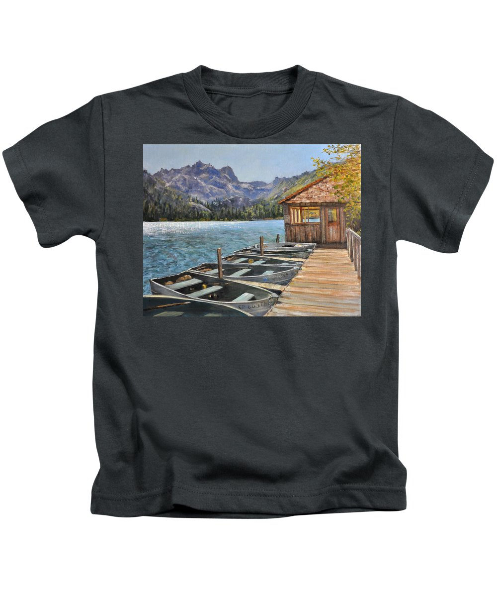 Landscape Kids T-Shirt featuring the painting Sardine Lake by Loreen Thomas
