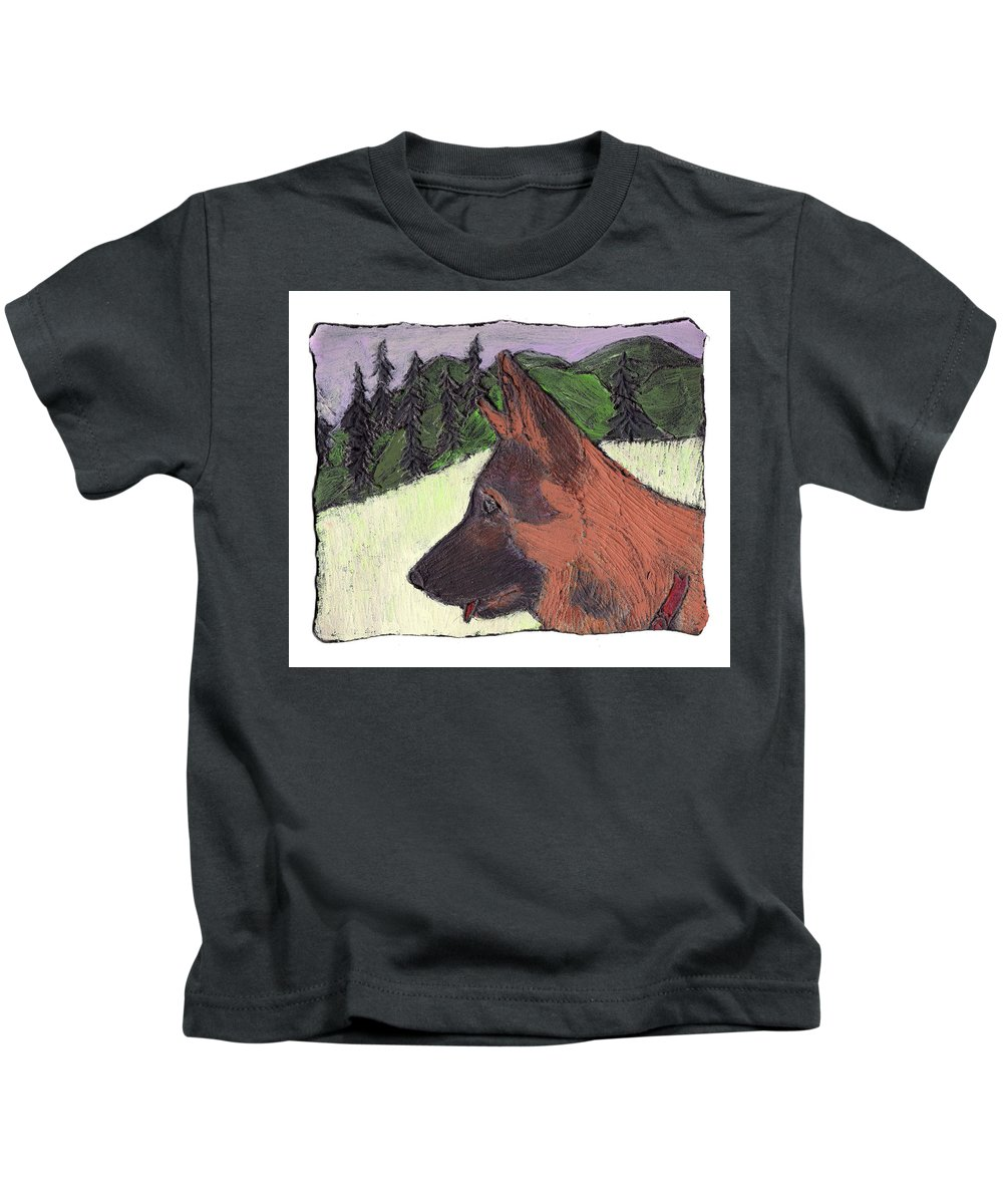 Dog Kids T-Shirt featuring the painting Sarge by Wayne Potrafka