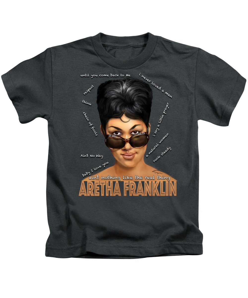 Aretha Franklin Kids T-Shirt featuring the painting Sassy The Cheeky Tshirt by Reggie Duffie