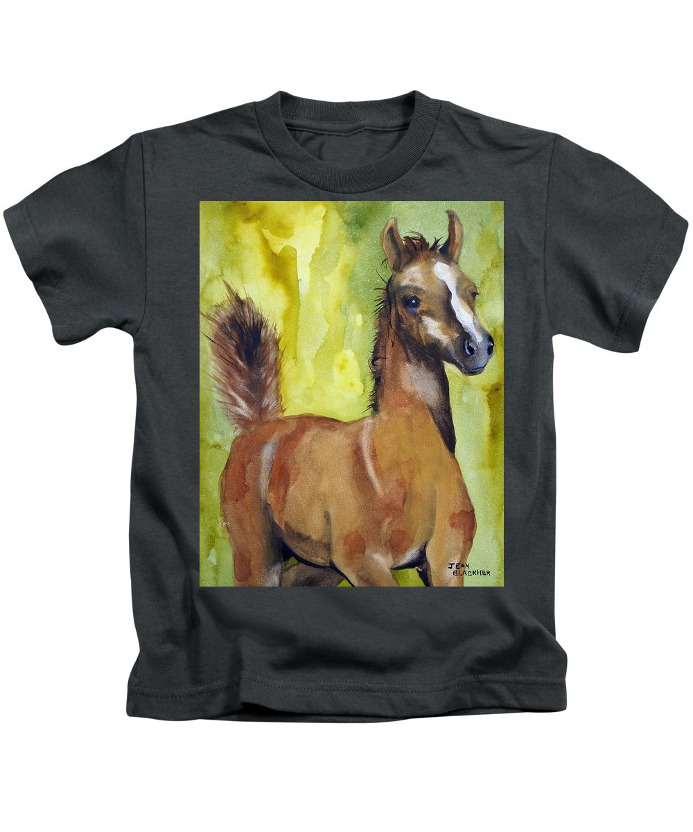 Filly Kids T-Shirt featuring the painting Saucy by Jean Blackmer