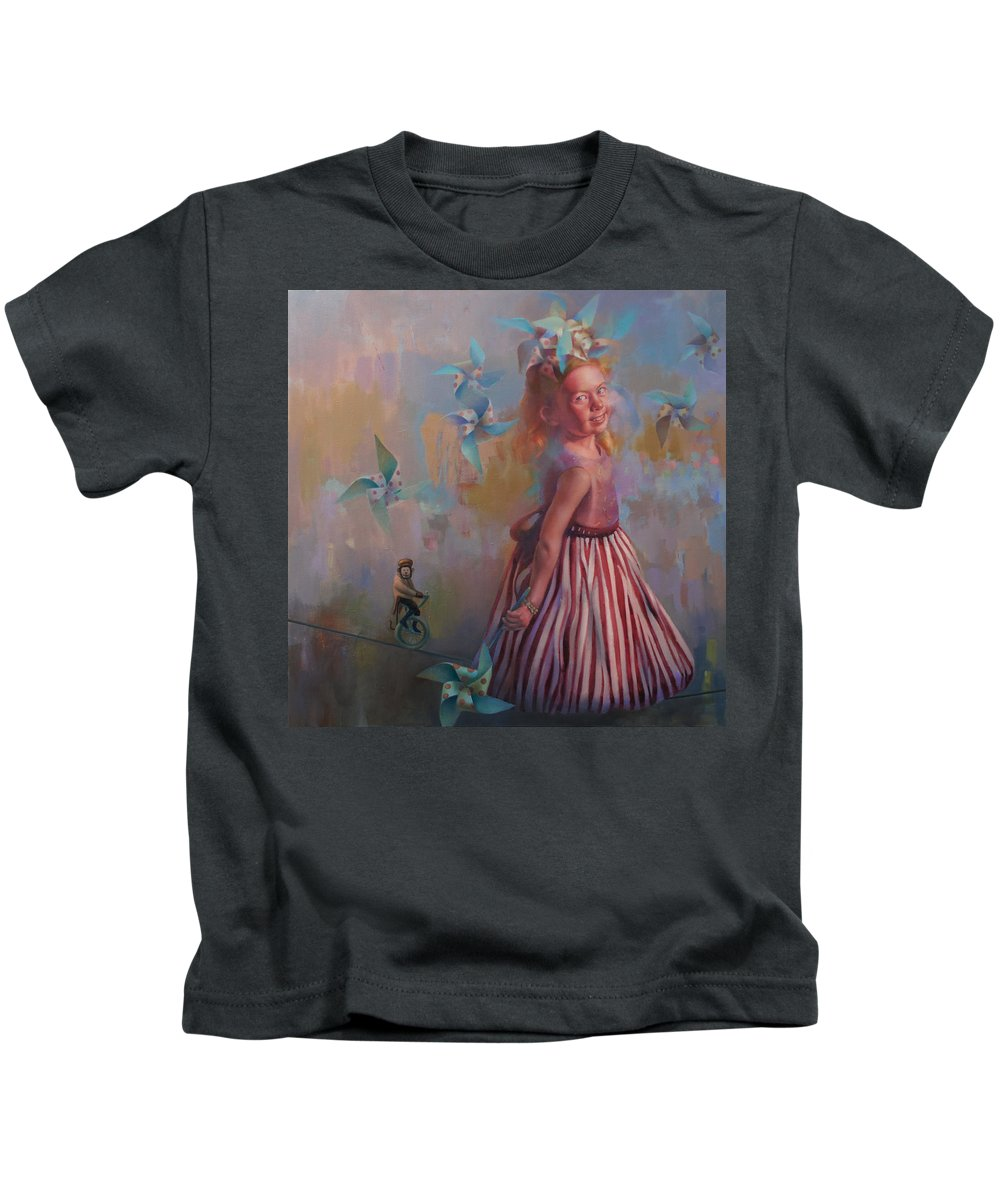 Figurative Kids T-Shirt featuring the painting Savanah At Play by Cathy Locke