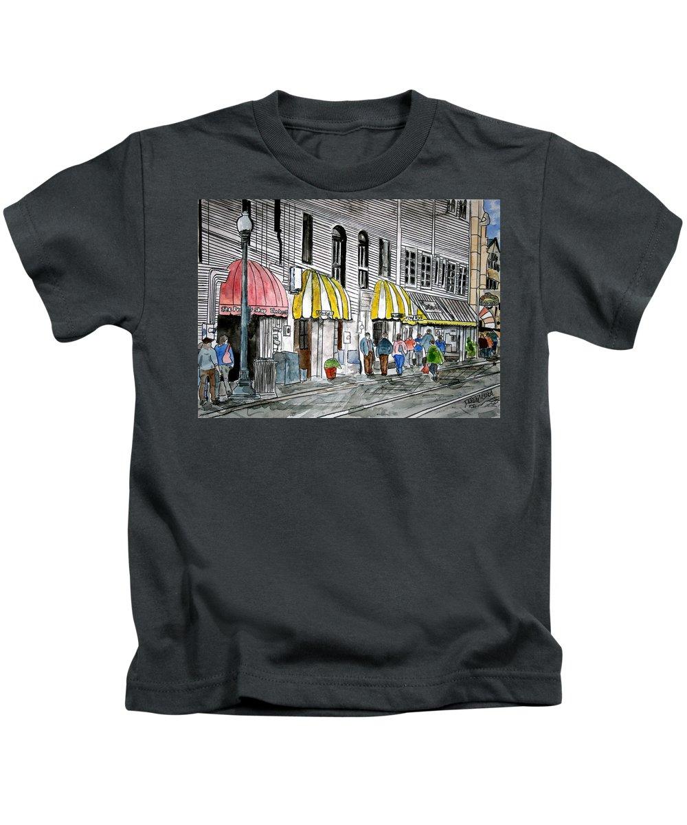 Cityscape Kids T-Shirt featuring the painting Savannah Georgia River Street 2 Painting Art by Derek Mccrea