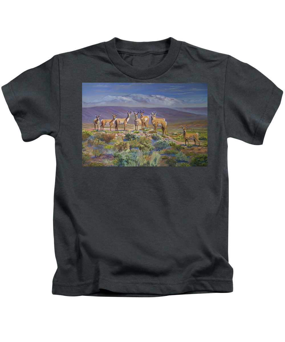 Antelope Kids T-Shirt featuring the painting Say Cheese Antelope by Heather Coen
