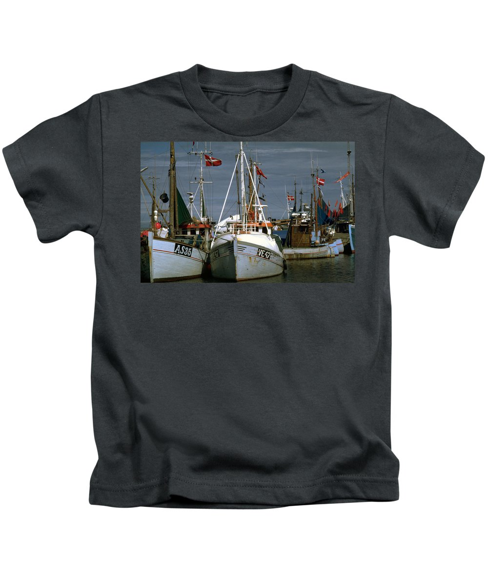 Scandinavian Kids T-Shirt featuring the photograph Scandinavian Fisher Boats by Flavia Westerwelle