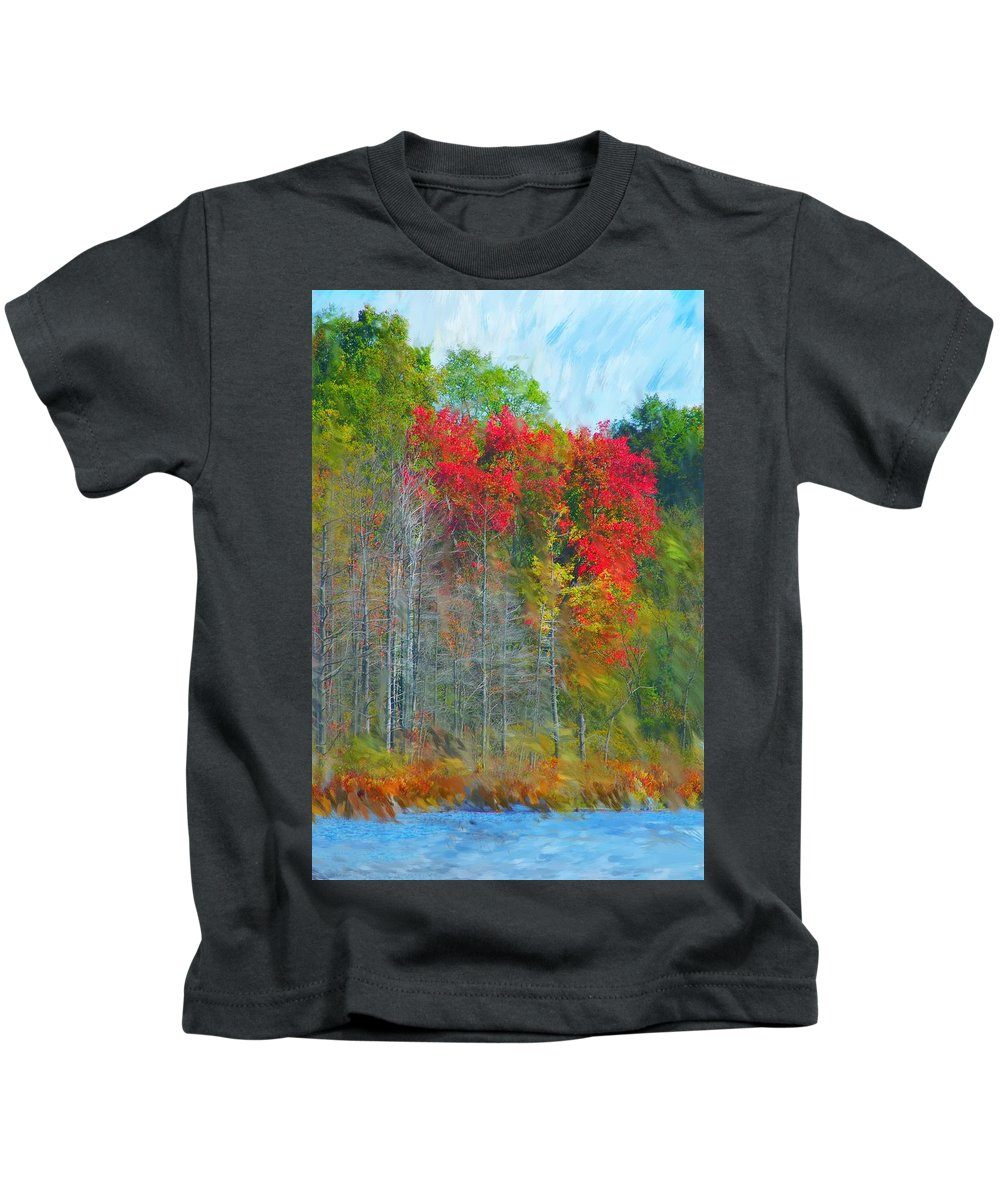 Landscape Kids T-Shirt featuring the digital art Scarlet Autumn Burst by David Lane