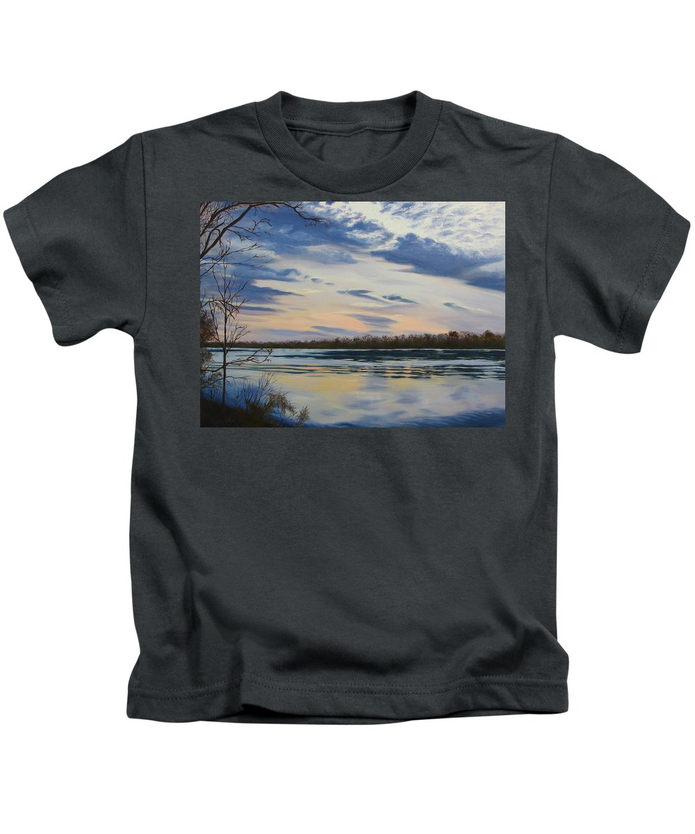 Clouds Kids T-Shirt featuring the painting Scenic Overlook - Delaware River by Lea Novak