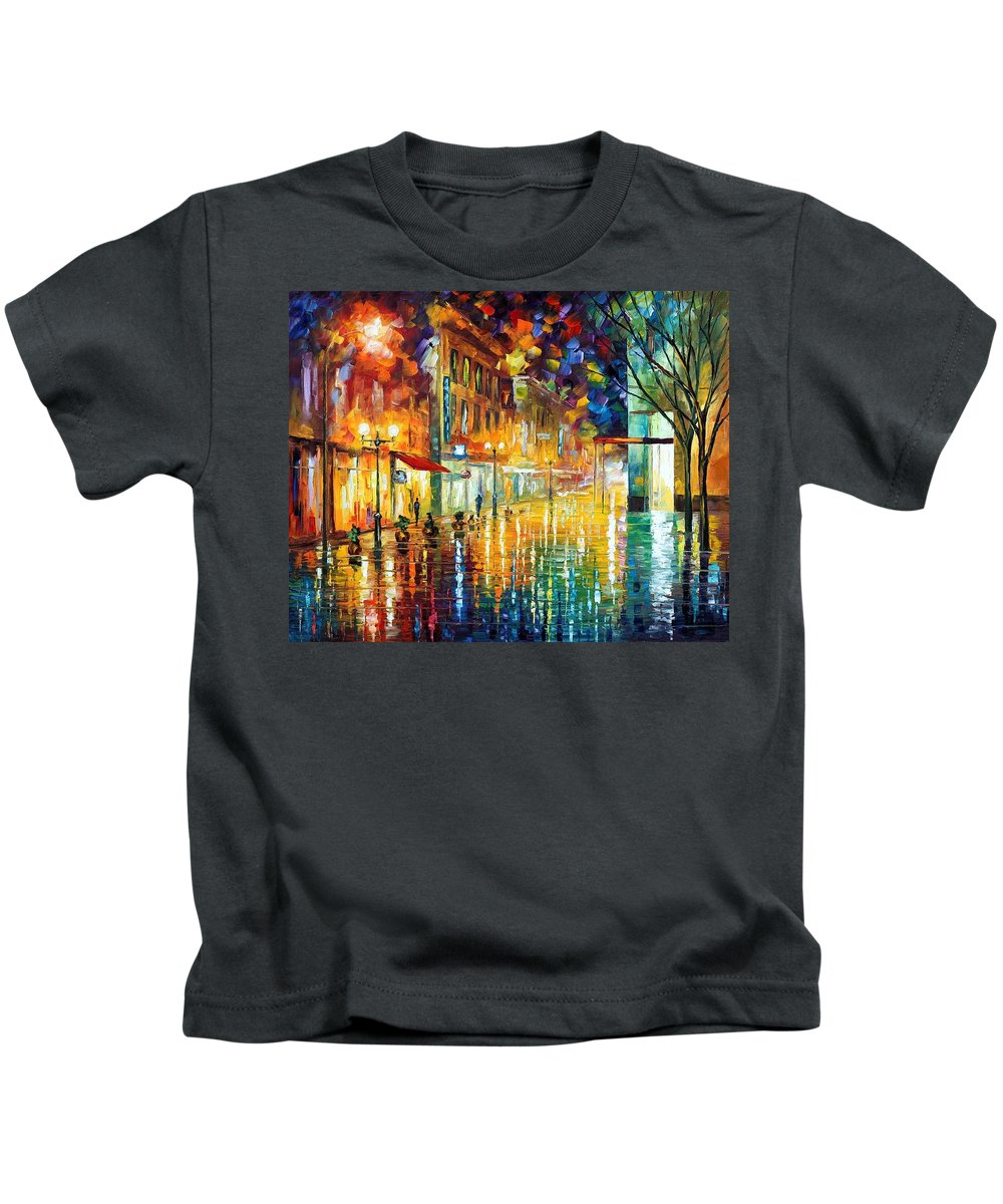 Afremov Kids T-Shirt featuring the painting Scent Of Rain by Leonid Afremov