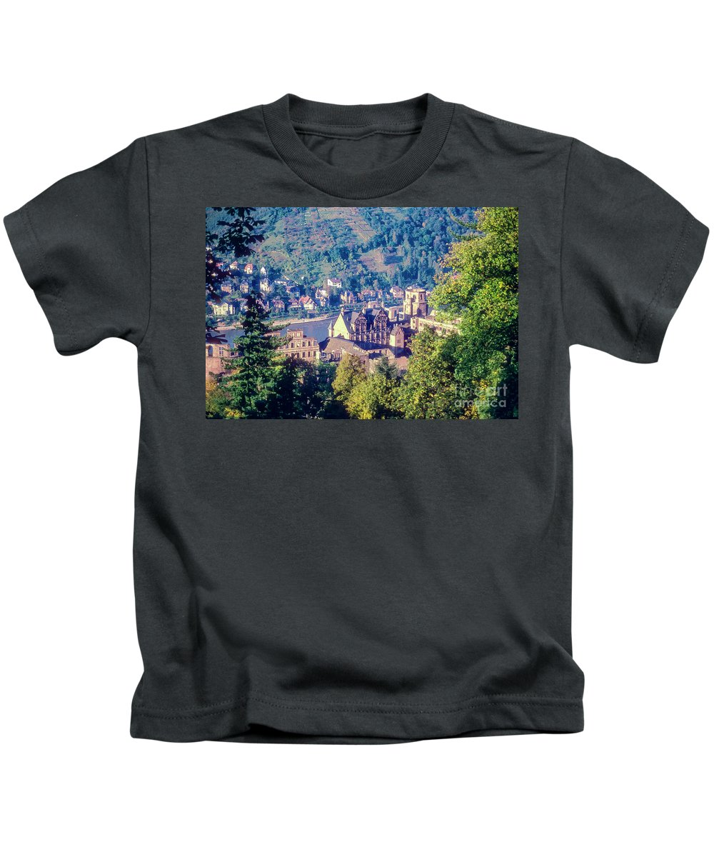 Heidelberg Castle Germany Water Neckar River Rivers Castles Schloss House Houses Architecture Building Buildings Structure Structures City Cities Cityscape Cityscapes Landscape Landscapes Landmark Landmarks Tree Trees Ruin Ruins Kids T-Shirt featuring the photograph Schloss Heidelberg by Bob Phillips