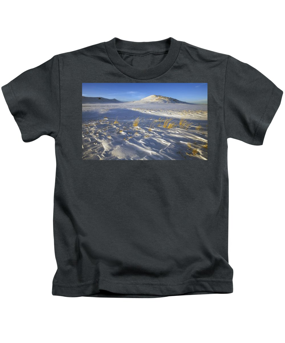 Winter Kids T-Shirt featuring the photograph Sculpted By The Wind by Mike Dawson