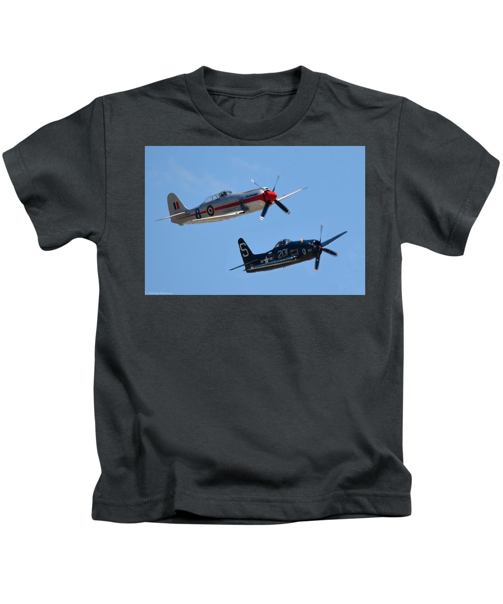 California Kids T-Shirt featuring the photograph Sea Fury And Bearcat by Tommy Anderson