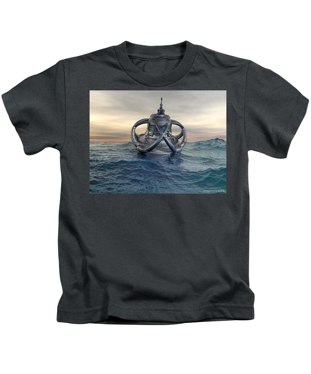 Digital Art Kids T-Shirt featuring the digital art Sea Lab by Michael Wimer