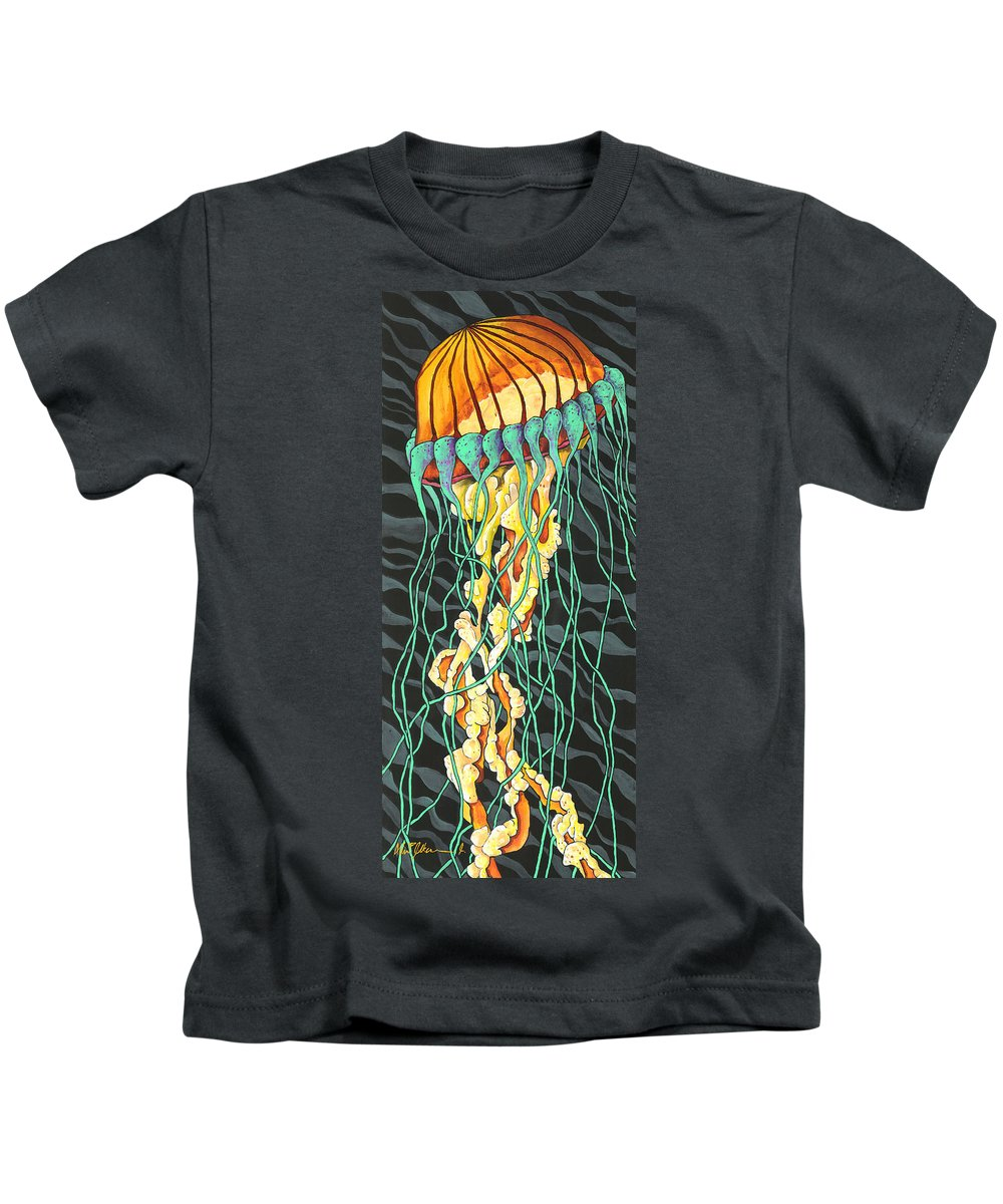 Albien Kids T-Shirt featuring the painting Sea Lightning by Albien Gilkerson