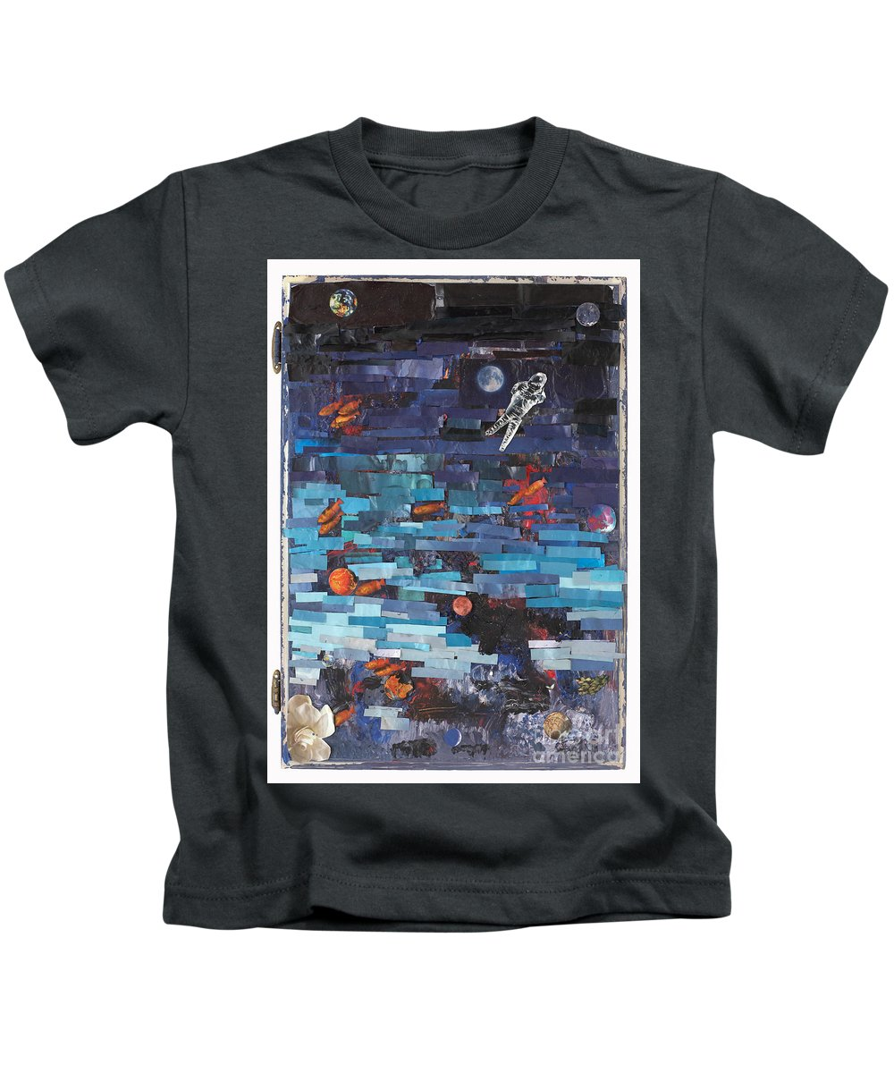 Astronaut Kids T-Shirt featuring the mixed media Sea Space by Jaime Becker