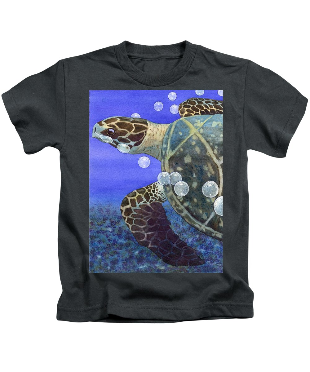 Turtle Kids T-Shirt featuring the painting Sea Turtle by Catherine G McElroy