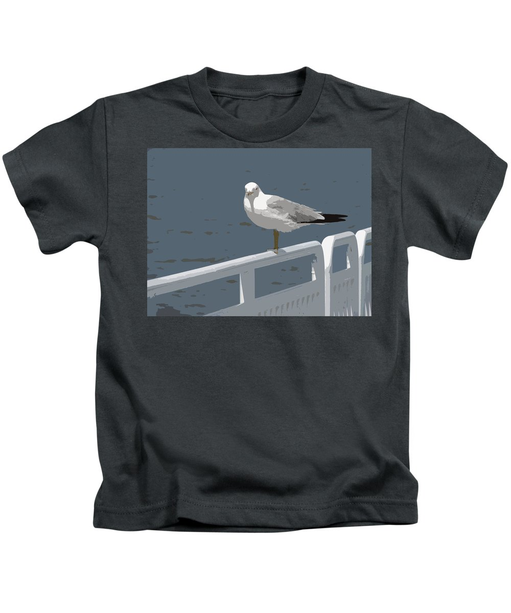 Seagull Kids T-Shirt featuring the photograph Seagull On The Rail by Michelle Calkins