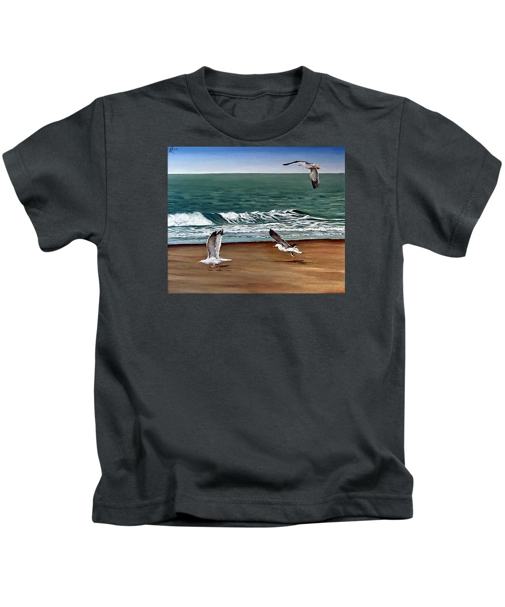 Seascape Kids T-Shirt featuring the painting Seagulls 2 by Natalia Tejera