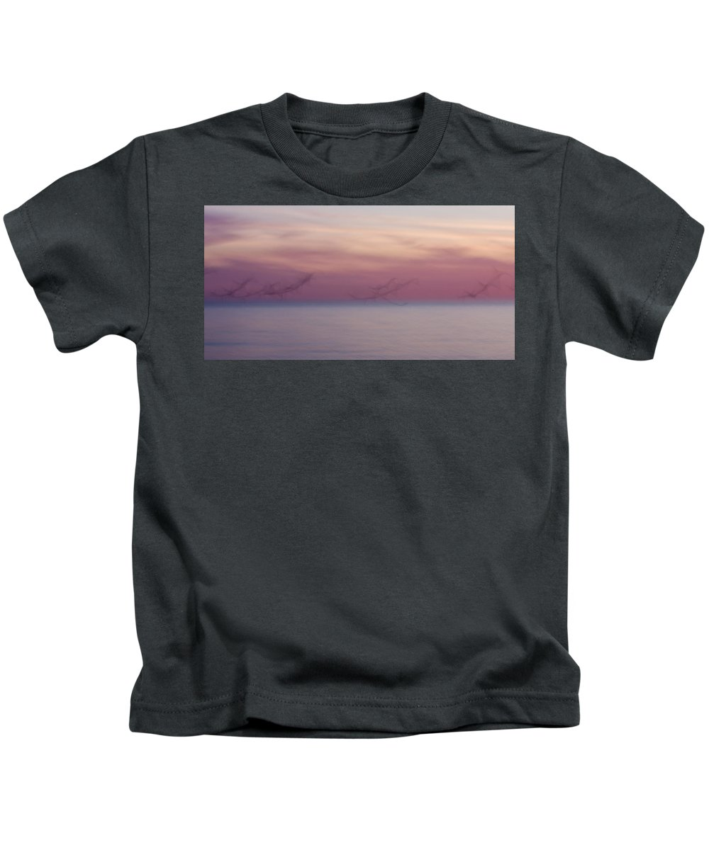 3scape Kids T-Shirt featuring the photograph Seagulls In Motion by Adam Romanowicz