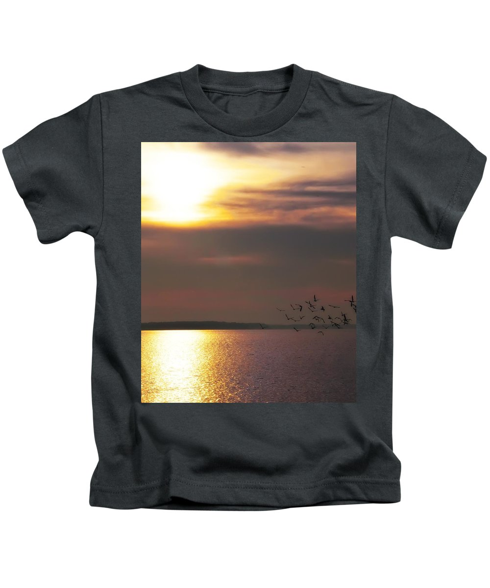 Seagulls Kids T-Shirt featuring the photograph Seagulls On The Chesapeake by Bill Cannon