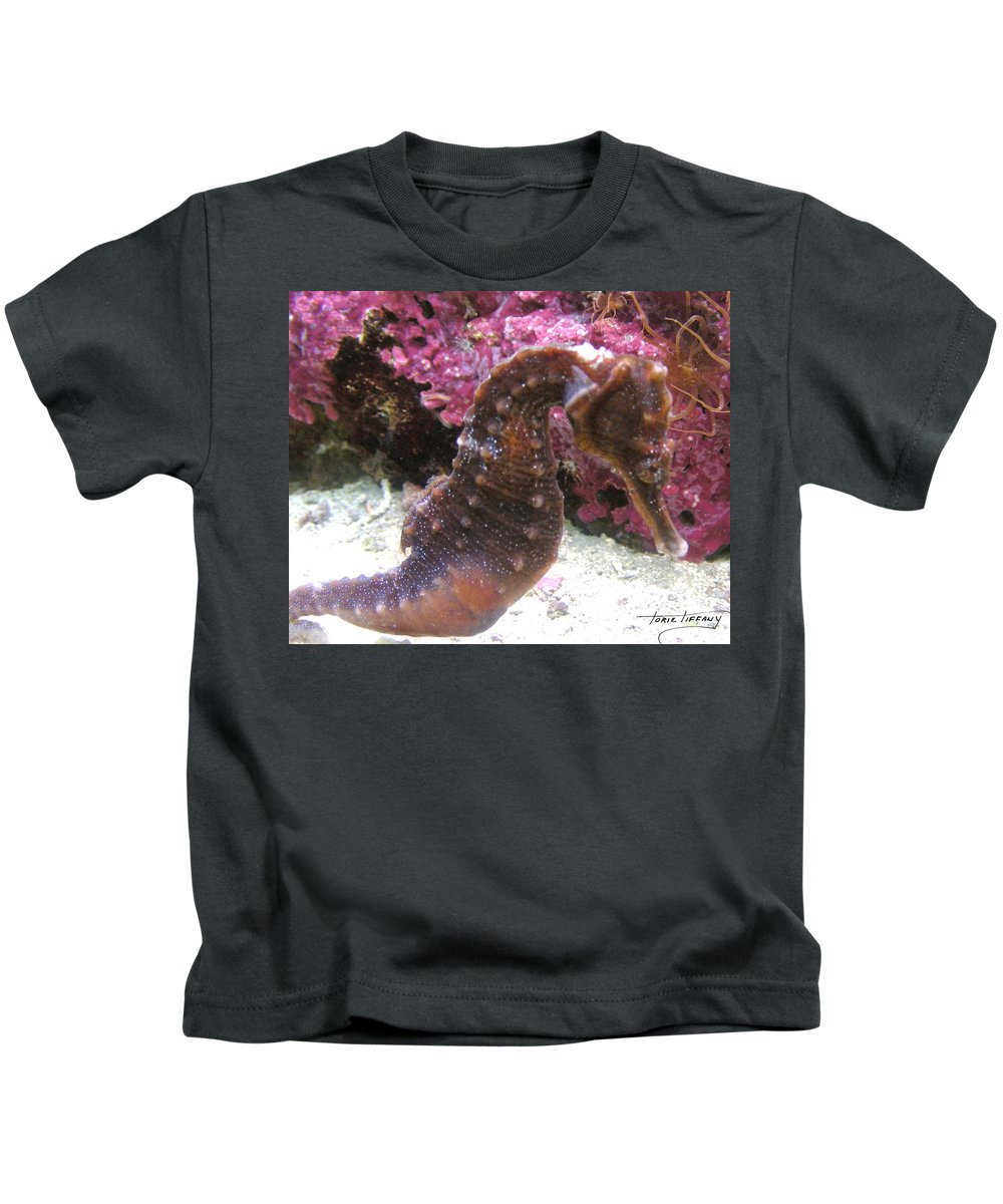 Faunagraphs Kids T-Shirt featuring the photograph Seahorse4 by Torie Tiffany