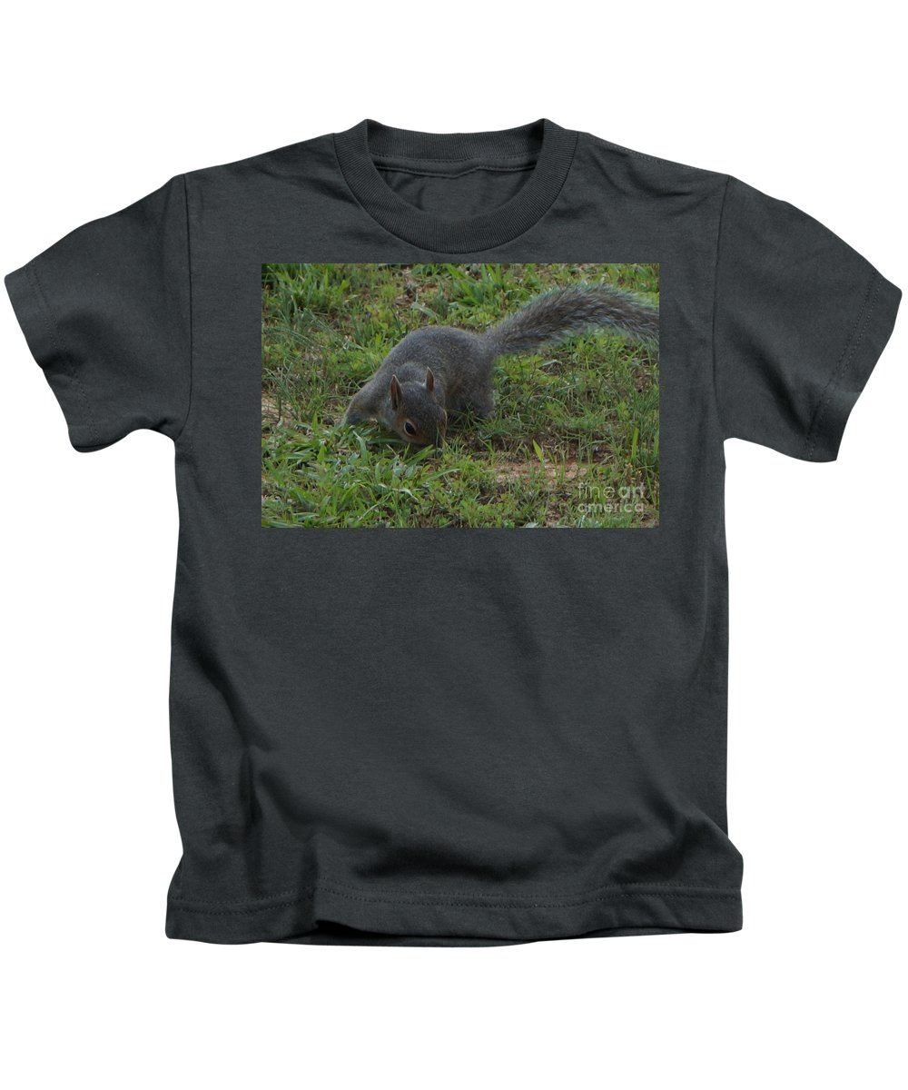 Squirrel Kids T-Shirt featuring the photograph Searching by Maxine Billings