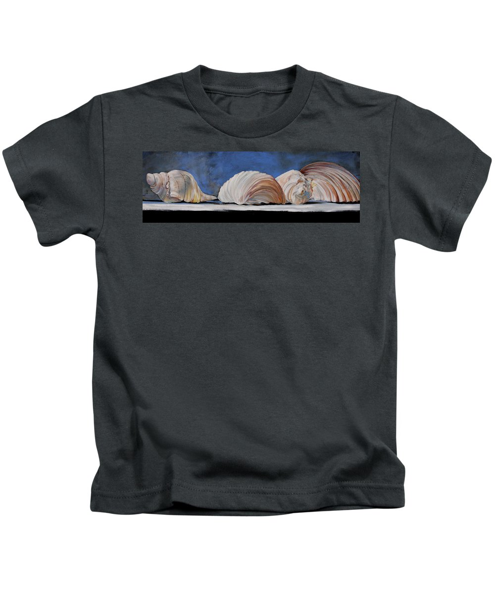 Seashells Kids T-Shirt featuring the painting Seashells by Toni Grote