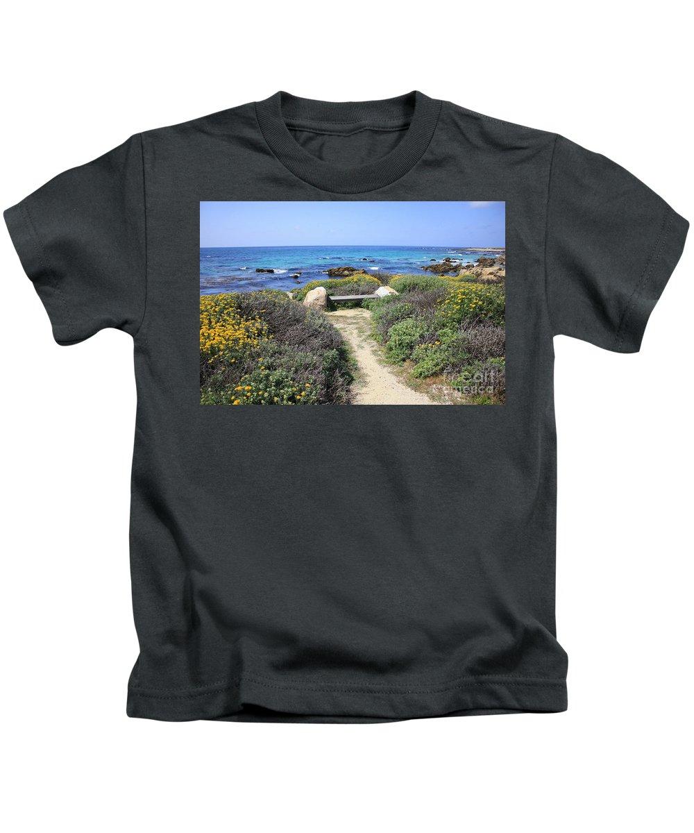 Landscape Kids T-Shirt featuring the photograph Seaside Bench by Carol Groenen