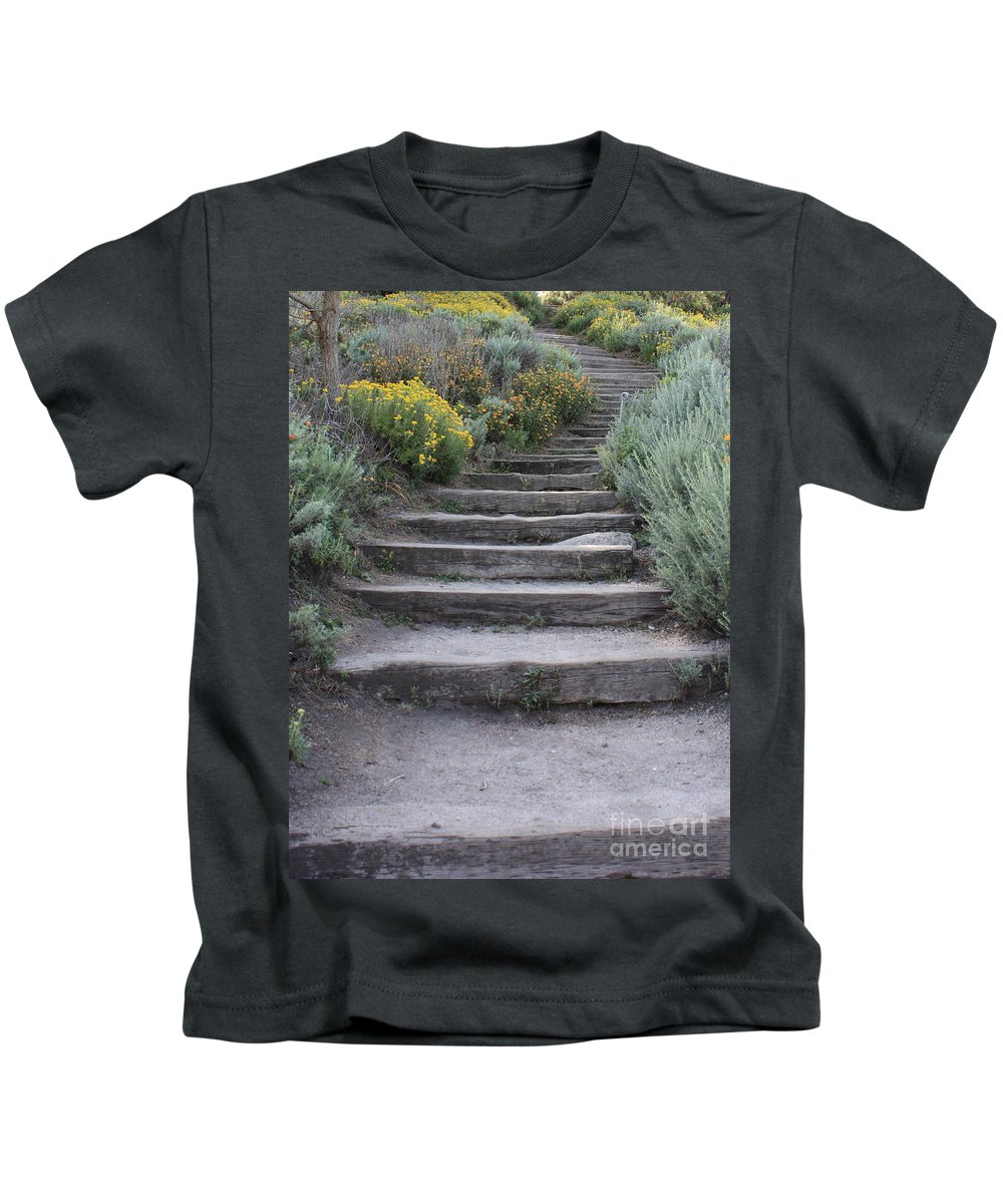 Seaside Steps Kids T-Shirt featuring the photograph Seaside Steps by Carol Groenen