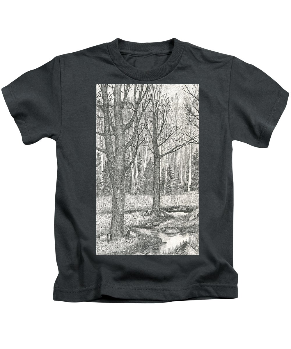 Landscape Kids T-Shirt featuring the drawing Seasons End by Harry Moulton