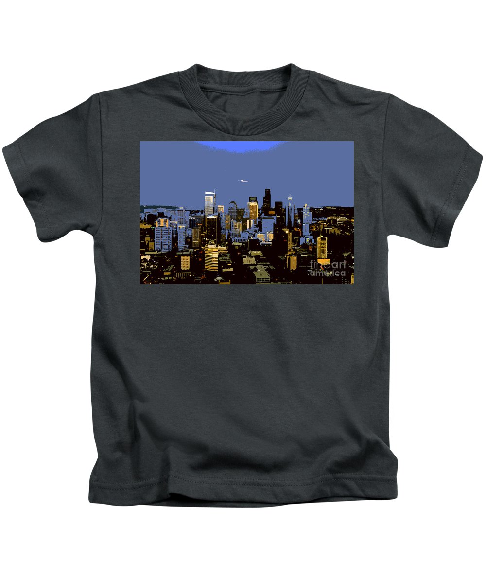 Seattle Washington Kids T-Shirt featuring the painting Seattle City by David Lee Thompson