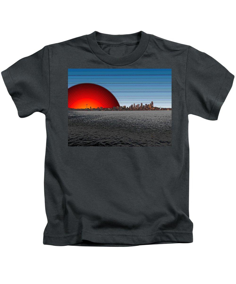 Seattle Kids T-Shirt featuring the digital art Seattle Dawning 2 by Tim Allen