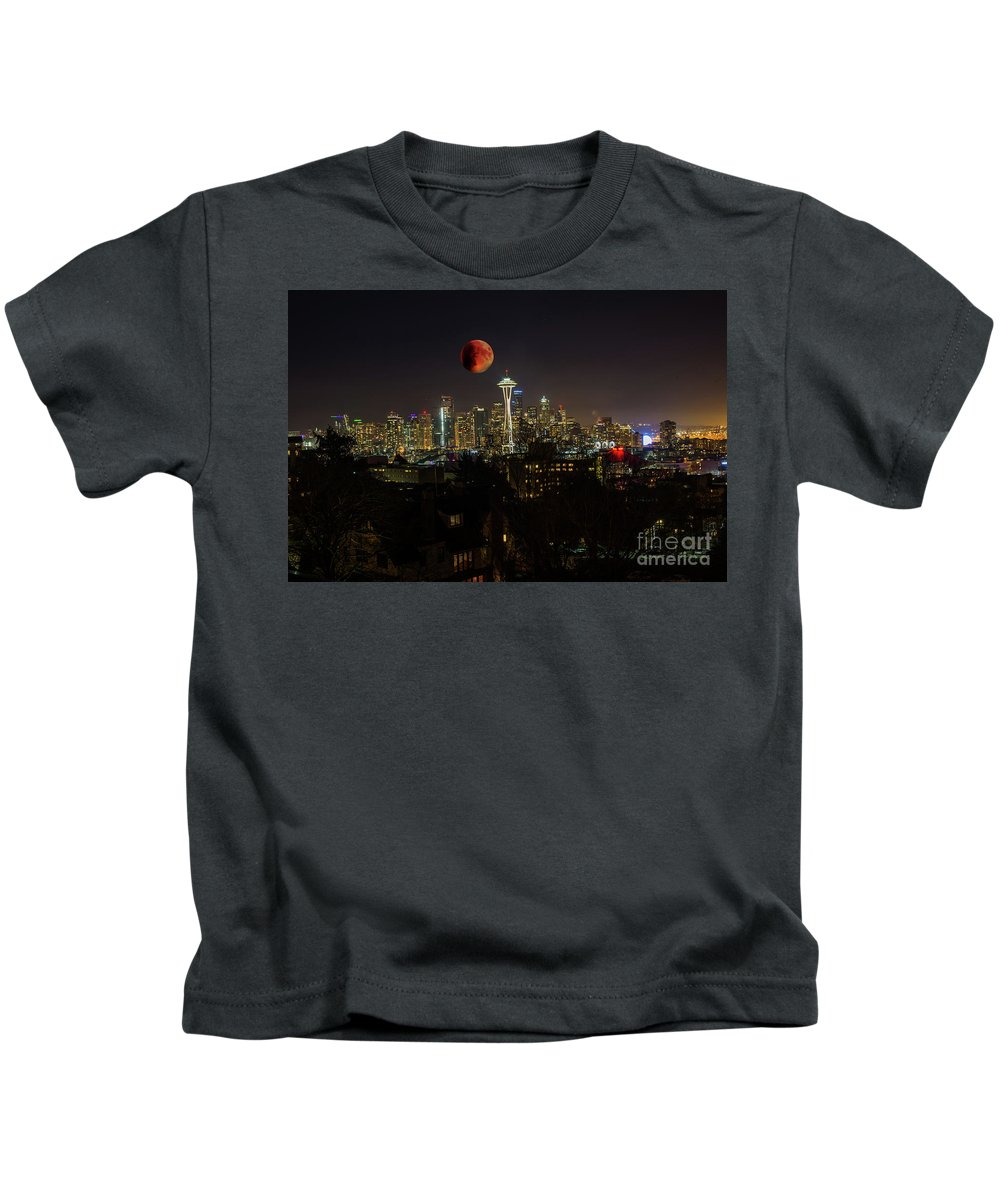 Blood Moon Kids T-Shirt featuring the photograph Seattle by Jim Hatch