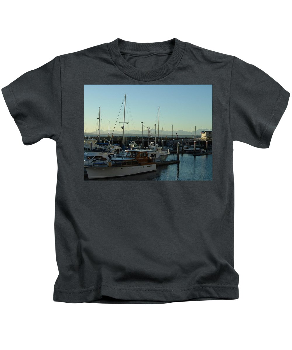 Landscape Kids T-Shirt featuring the photograph Seattle Marina by Mark Hill