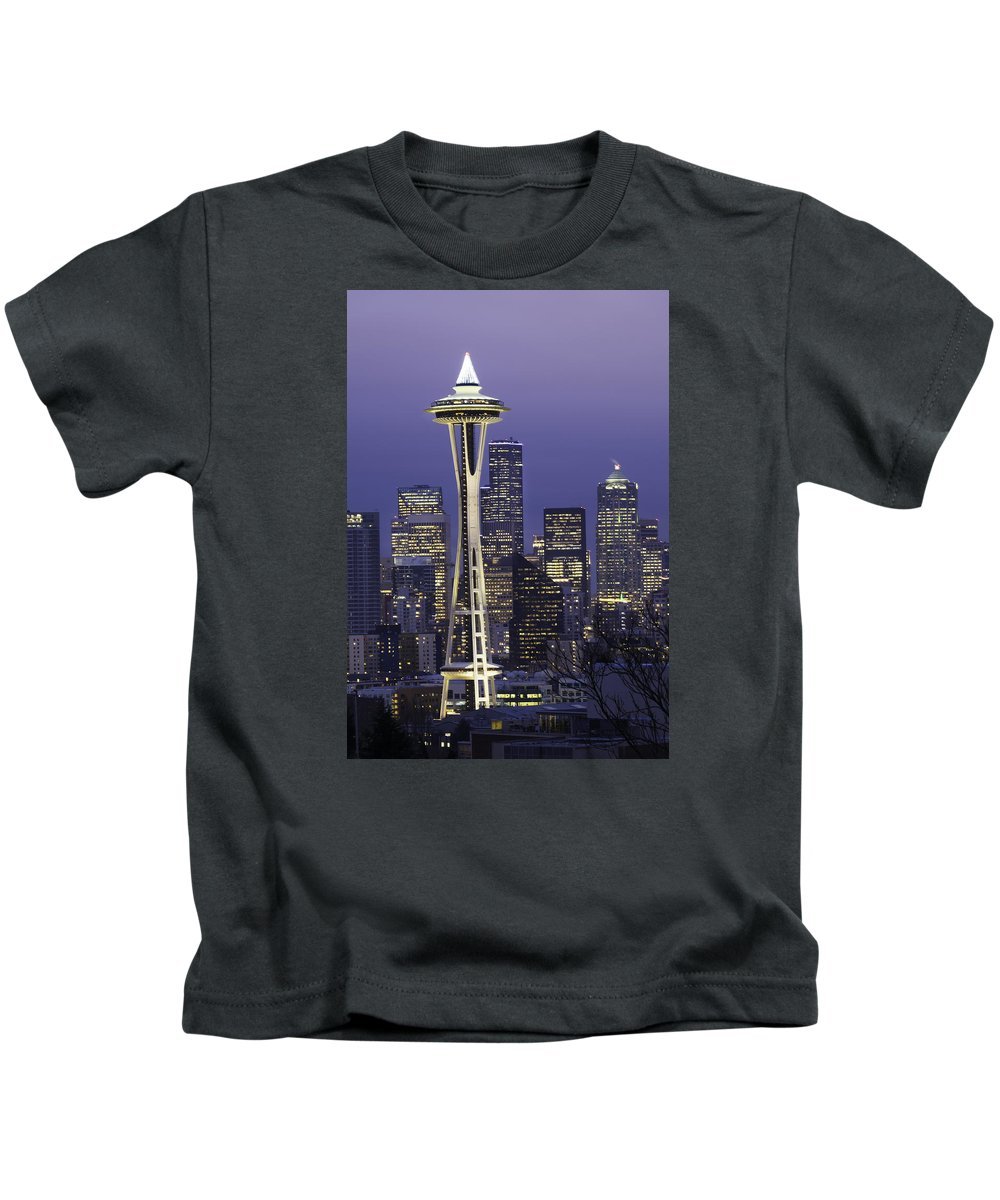 Seattle Kids T-Shirt featuring the photograph Seattle Space Needle 0200 by Bob Neiman