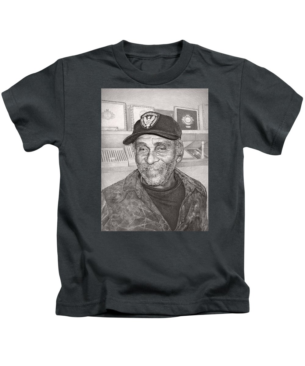 Art Kids T-Shirt featuring the drawing Security Man by Ilgvars Rauda