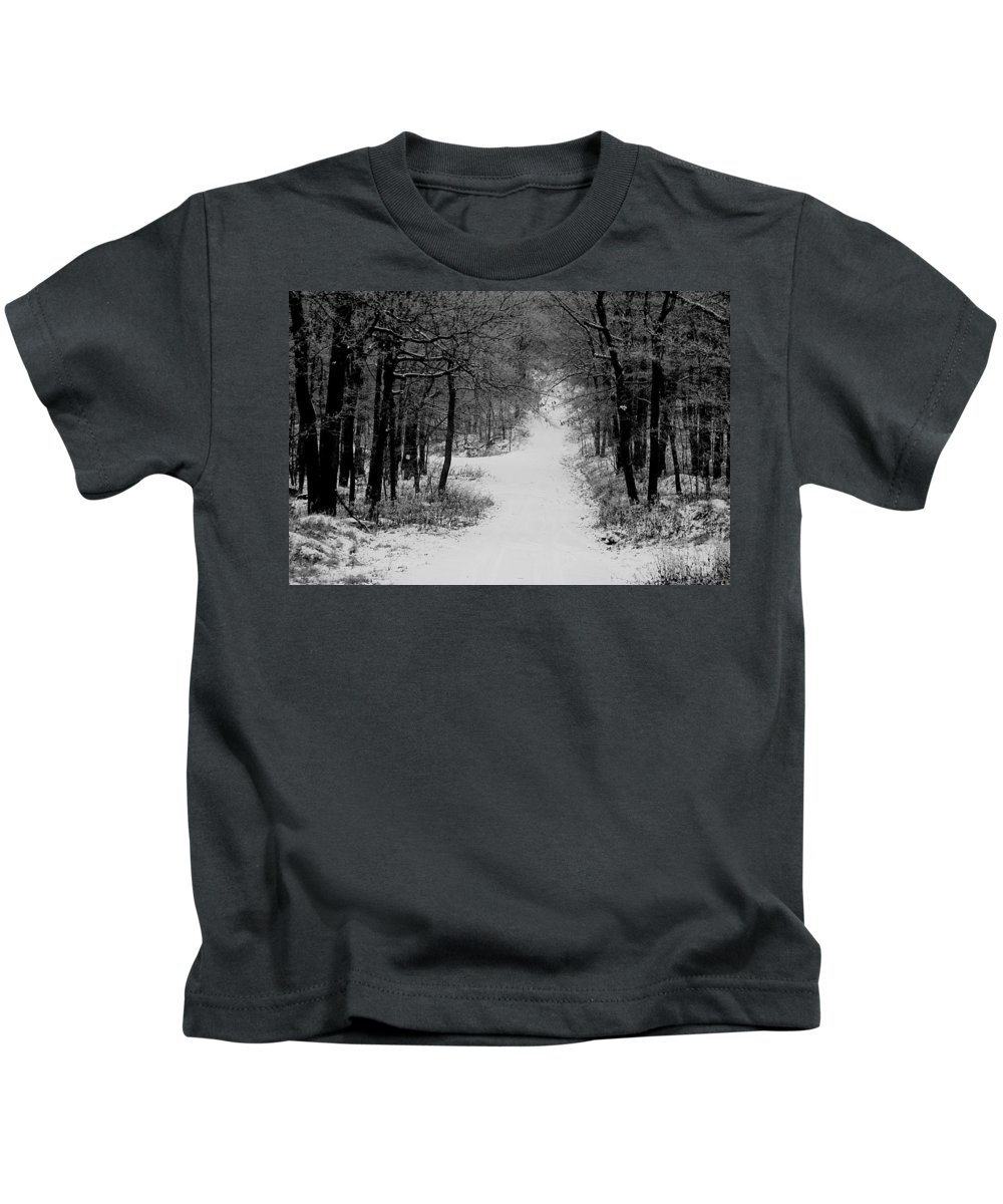 Snow Kids T-Shirt featuring the photograph See Where It Leads. by Jean Macaluso