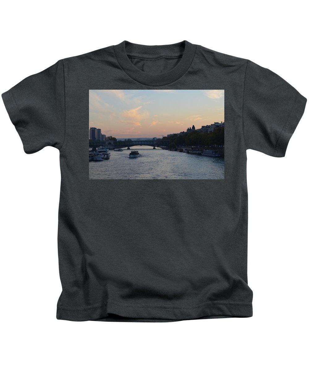 Seine Kids T-Shirt featuring the photograph Seine At Sunset by Dawn Crichton