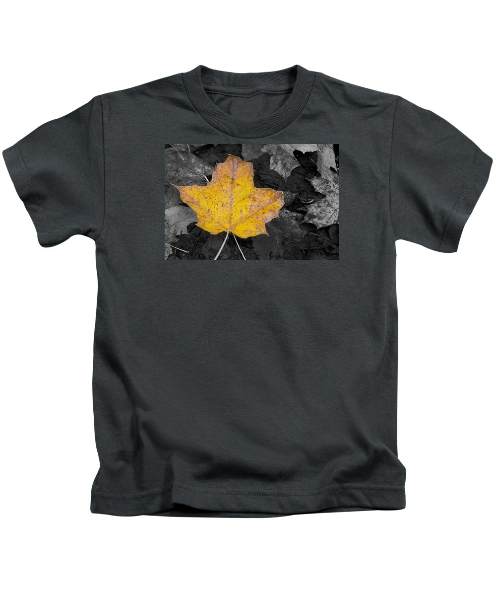 Selective Kids T-Shirt featuring the photograph Selective Color Leaf by Alvin Sangma