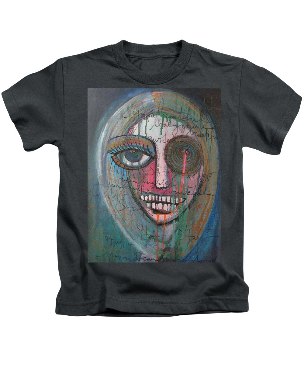 Self Portraits Kids T-Shirt featuring the painting Self Portrait Youre Beautiful by Laurie Maves ART