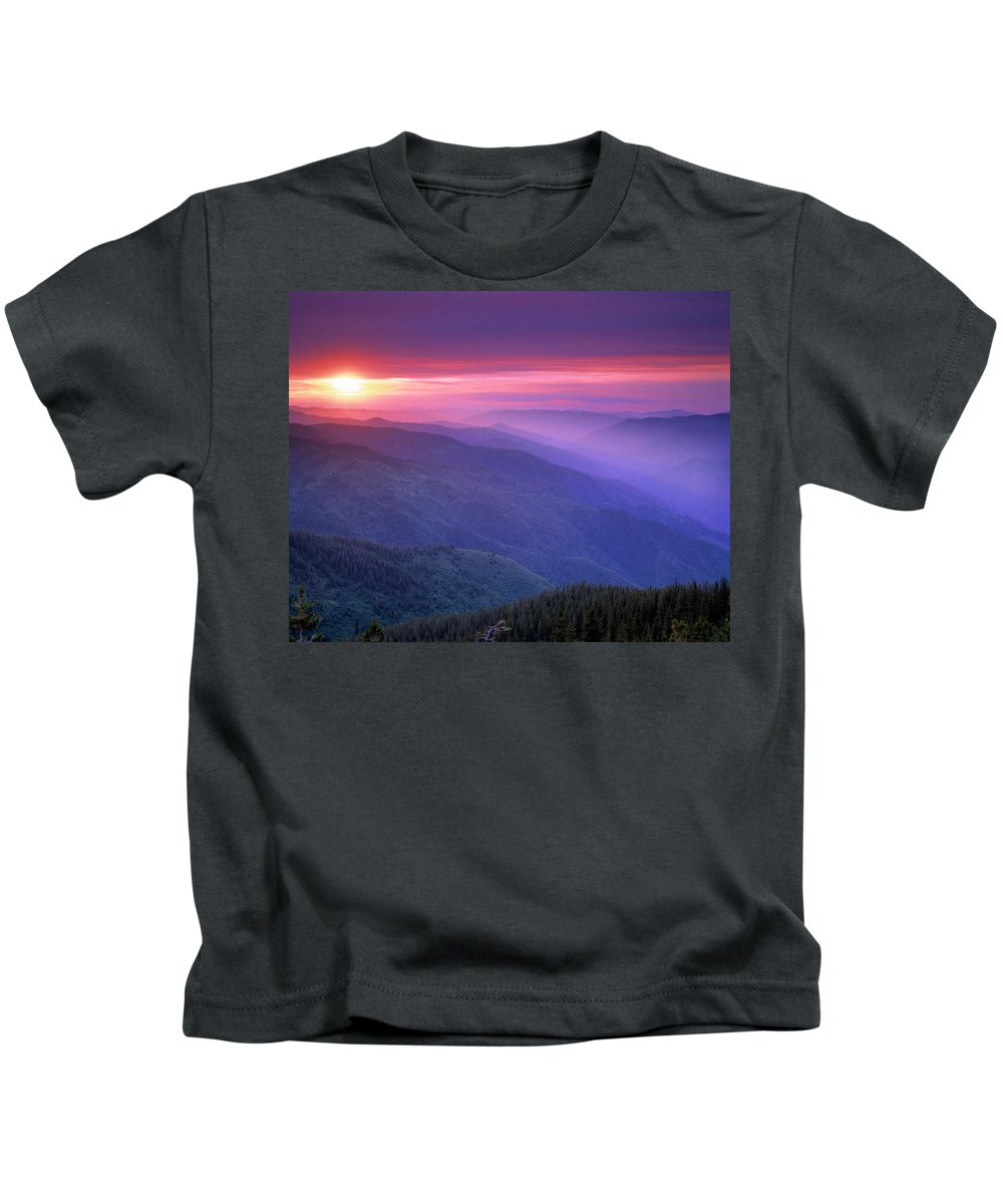 Selway Wilderness Kids T-Shirt featuring the photograph Selway Sunrise by Leland D Howard